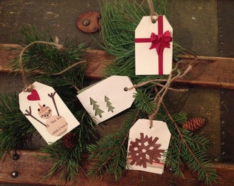 Pack of four homemade Christmas gift tags