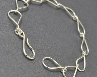 Sterling Silver Tear Drop Bracelet, Handmade links, Silver Chain Bracelet