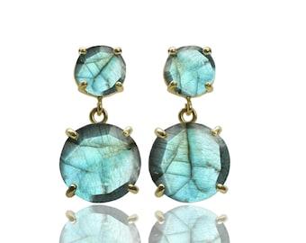 SALE - Labradorite earrings,dangle earrings,gold earrings,gemstone earrings,prong earrings,semiprecious earrings