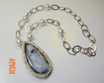 necklace opale and pearl