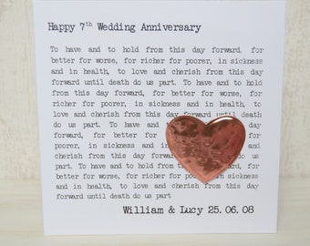 7th Wedding Anniversary Personalised Copper Typewriter Text Card