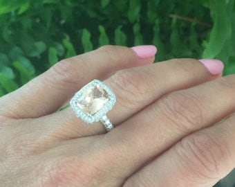 Morganite & Diamond Engagement Ring 1.40ct Natural Diamonds Filigree Butterfly Halo Ring 2.53ct Morganite Ring Pristine Custom Rings