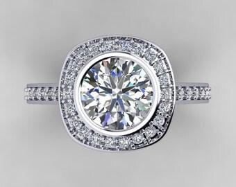 Forever One Moissanite Engagement Ring 14k White Gold 1.90ct Round Center Genuine Diamonds Bezel Set Diamond Halo Ring Pristine Custom Rings