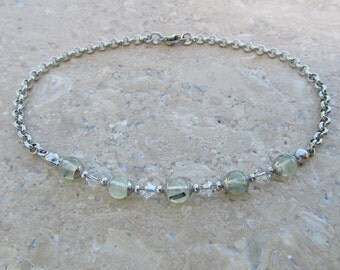 316 Stainless Steel Belcher Chain and Prehnite Anklet