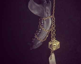 Quartz and Raccoon Jaw Necklace Pendant Oddity Necklace