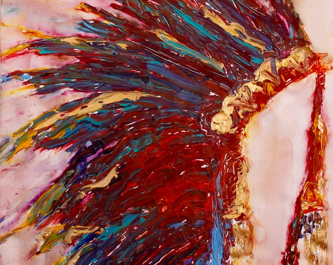 Painting of Headdress, Cheif Headdress, Wall Art, Abstract Painting