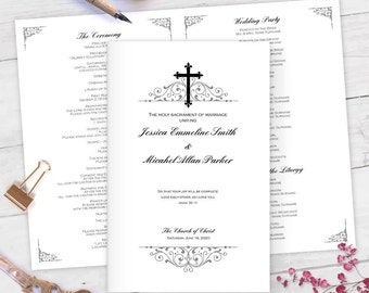 Elegant| Catholic wedding programs| diy| Catholic wedding program templates| MS word| You edit text, color, print at home |FETFP| cp