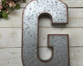 GALVANIZED LETTER/Large metal Letter/home wall decor/Personalized Letter/Tin Letter/Loft Decor/Industrial Decor/Dorm Decor/Wall Letter/Prop