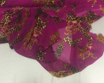 Magenta leopard chiffon fabric- super soft chiffon print- sold by the yard.