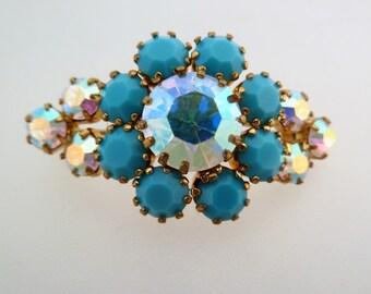 Faux Turquoise and Aurora Borealis Rhinestone Flower Vintage Brooch