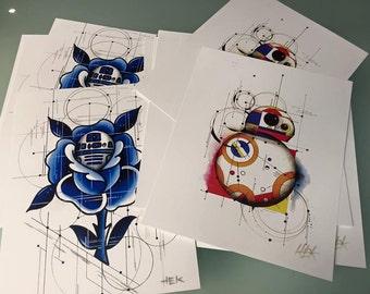2pc Droid print set