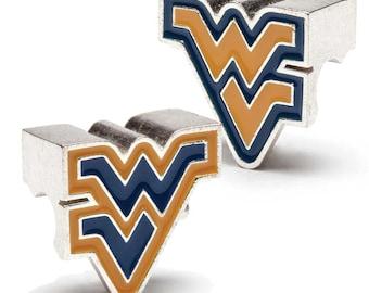 West Virginia University WVU Logo Bead Charm Set of Two
