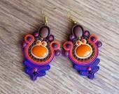 Handmade Earrings, Orange Earrings, Purple Earrings, Chunky Big Earrings, Colorful Large Earrings, Valentines Day Gifts For Her Women OOAK