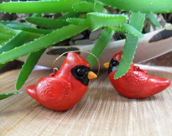 Cardinal Christmas Ornament - Christmas Tree Decoration - Handmade Clay Cardinal