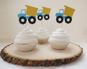 Dump Truck Cupcake Toppers - Set of 12 - Aqua & Yellow