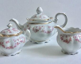 Schumann Dresden Original Bridal Rose Tea Set, Teapot, Creamer & Sugar