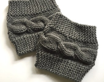 Gray Cable Knit Boot Toppers