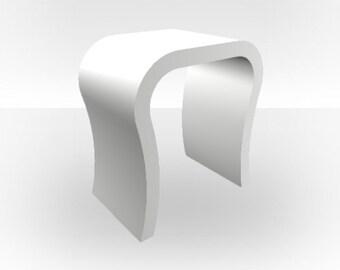 White Matt Bedside Table - Curved