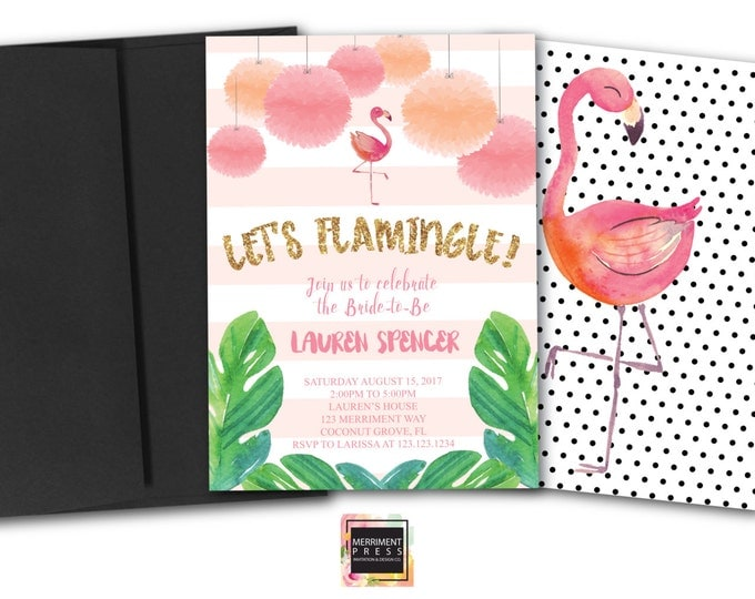 Let's Flamingle Bridal Shower Invitation // Flamingo Invitation // Gold Glitter // Bridal Shower // Watercolor // COCONUT GROVE COLLECTION