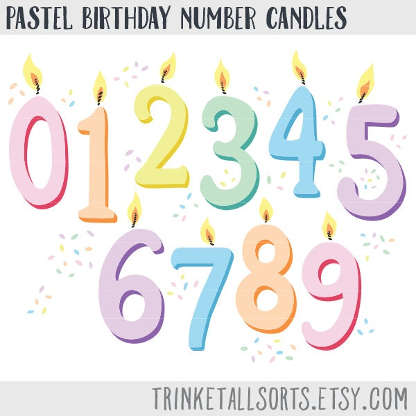 Birthday Candle Clipart Number Candles Clip Art Pastel