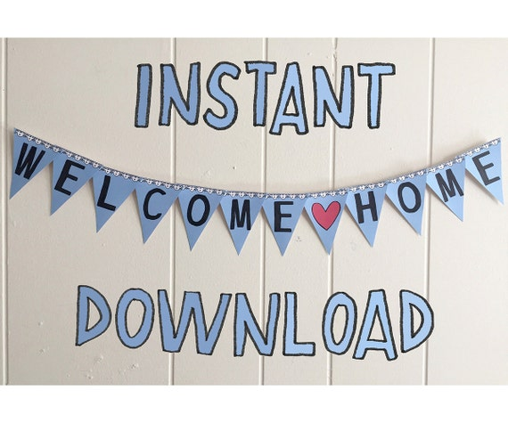 Printable Welcome Home Sign: MINI BANNER Welcome Home Printable Instant Download