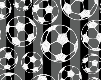 Multi colored Soccer balls Fleece Fabric By The Yard