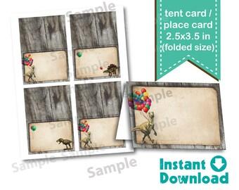 Dinosaur Food tent card, buffet tent card, place card. Instant download. Vintage rustic realistic dinosaur. DIY digital file. KB148