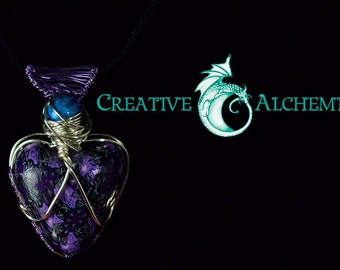 Purple heart polymer clay wire wrapped pendant