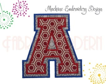 UNIVERSITY COLLEGIATE MONOGRAM double Applique' Embroidery Font Design, 4, 5 and 6 inches, All letters,includes bx, #792