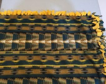 Fleece Knot Blanket, Southwestern Print (Green & Tan) with Yellow backing, Medium