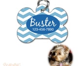Personalized Pet Tag Identification tag for cat or dog - bone shaped - chevron pattern