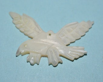 Vintage Mother of Pearl Eagle in Flight Charm/Pendants - 1 Piece (2041636)