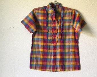 FREE SHIPPING Vintage Blouse - Sheer Cotton Gauze Short Sleeve Button Down Top