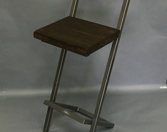"Tall 30"" X-style bar stool with back"