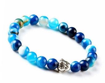 Blue Agate Bracelet, Buddha Agate Bracelet, Agate Jewelry Bracelet, Agate Stretch Bracelet, Blue Beaded Bracelet, Womens Mens Gift Bracelet