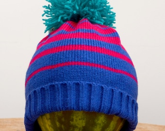 SALE!! 20% OFF Bright Blue and Purple Striped Knitted Hat with Pom Pom