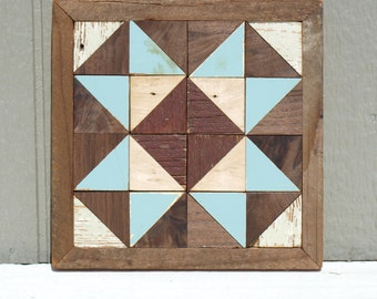 rustic wooden quilt block, cottage chic barn quilt, salvaged wood  wall decor