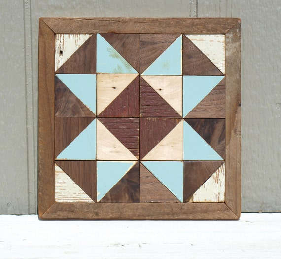rustic wooden quilt block, cottage chic barn quilt, salvaged wood wall ...