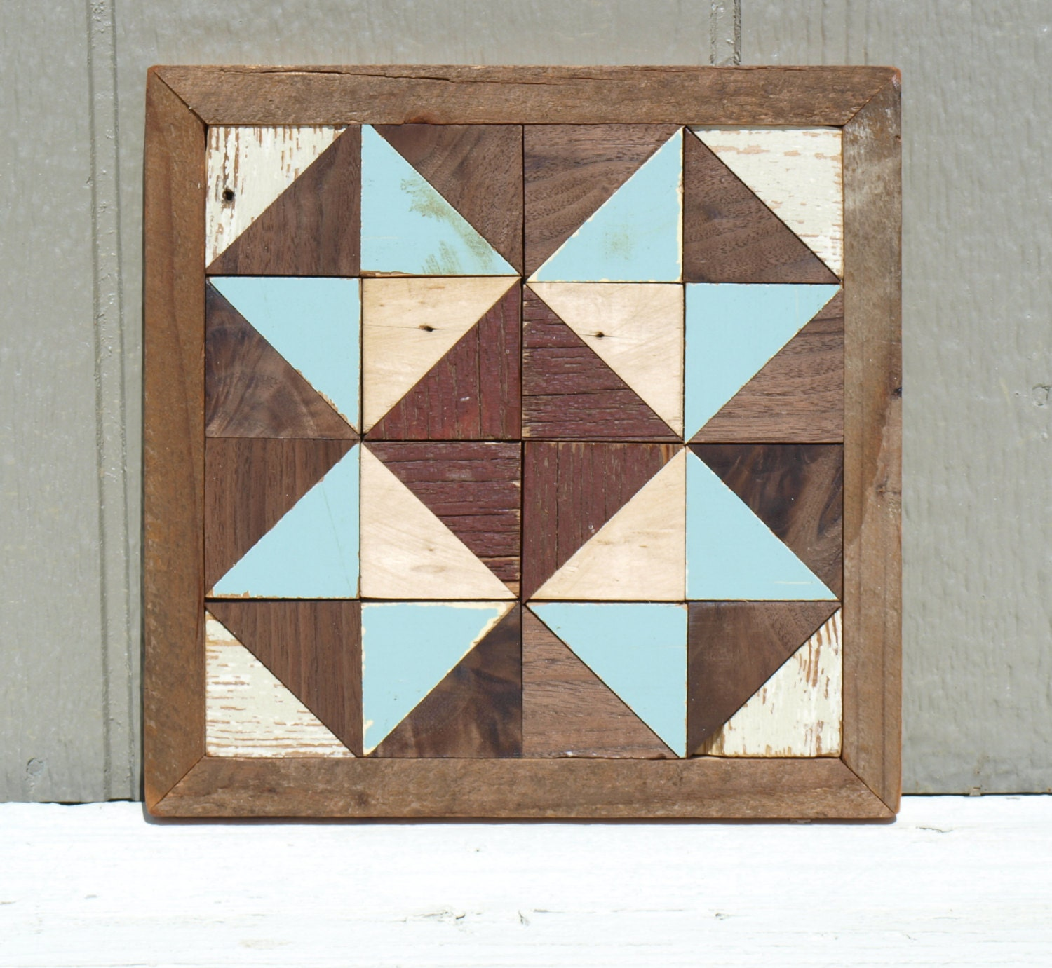 Rustic wooden quilt block cottage chic barn salvaged