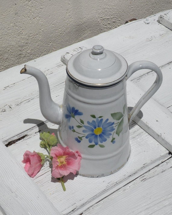 French vintage white enamel coffeepot, vintage enamelware, floral enamel coffeepot, shabby chic, cottage chic, country home, coffeepot