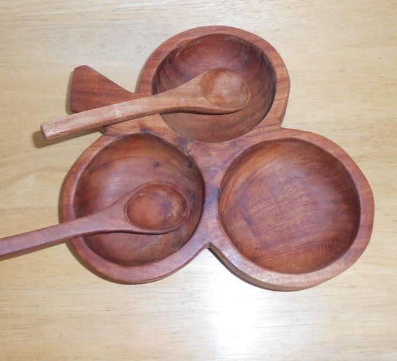Souvenir Wood Three Way Clover Design Serving Dish With Serving Spoons Salsa Bowls  Mexico