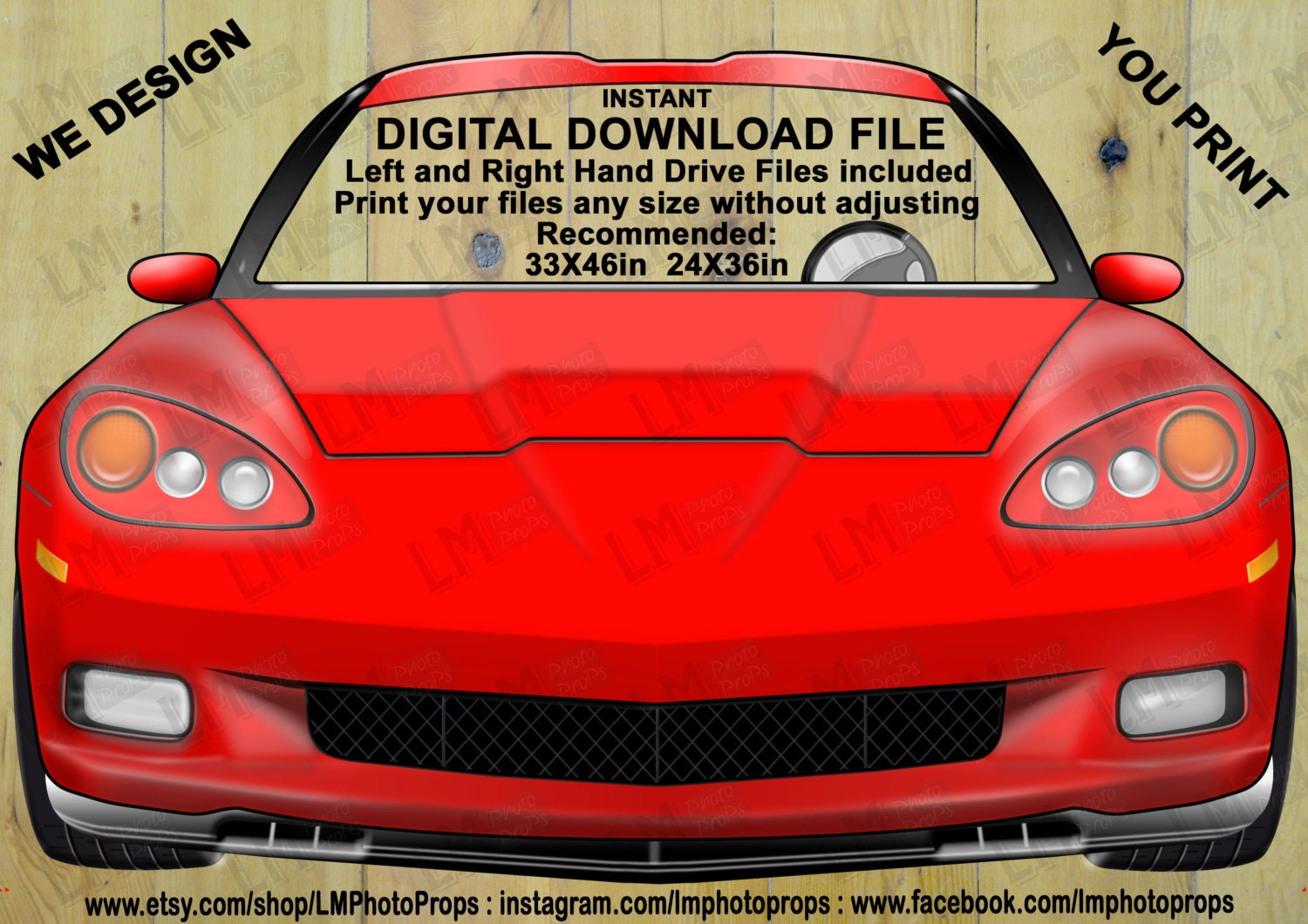 Red Corvette Style Car Printable Car Photo Prop Instant Download Wedding Prop Red