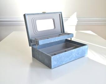Vintage Jewelry Box Mele Style BLUE Tiered Organizer Plus Mirror Velvet Fuzzy Exterior