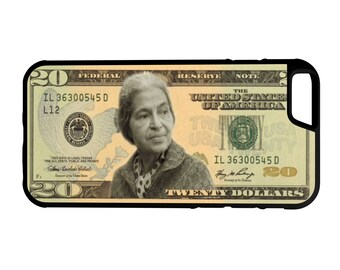 Rosa Parks 20 Dollar Bill iPhone Galaxy Note Lg G4 Protective Hybrid Rubber Hard Plastic Snap On Case Black