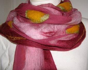Nunofilzschal; Felt scarf; Silk scarf pink, silk chiffon, silk, merino wool, unique