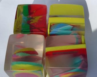 3d art in resin set of four energy blocks