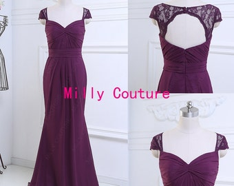 Purple Long open back bridesmaid dress with lace cap sleeves, chiffon evening dress