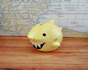 Sparkly Yellow Shark Bank, Yellow Shark Piggy Bank, Shark Piggy Bank, Piggy Bank, Bank, Baby Bank, Baby Shower Gift, Nautical Nursery