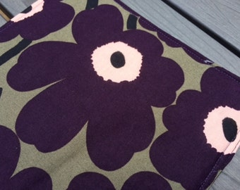 One pot holders from  Marimekko Mini Unikko fabric, Finland,purple green