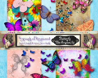 Butterfly Mini Scrapbook Kit - 12x12 Scrapbook Paper - Printable Paper and Clip Art - Scrapbooking - Commercial Use - Instant Download